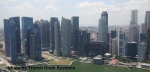 Singapore skyline, singapore trench drain, asian trench drain, bar grating, trench drain bar grate